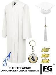 white cap and gown matte white cap gown high school graduation set rs4251465602391