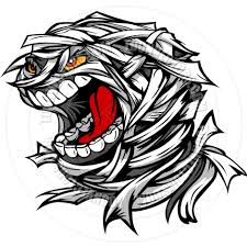screaming scary mummy halloween monster head cartoon vector