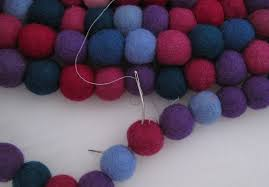 Wool Ball Rug Brightly Coloured 80cm Felt Ball Rug Felt Like Smiling