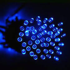 aleko 50 blue led solar powered string lights