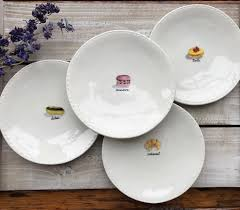 rae dunn stitched french dessert plates set of 4 in the farm