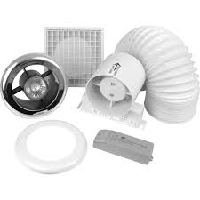 In Line Exhaust Fan Bathroom 100mm Inline Shower Extractor Fan Kit With Light Timer Toolstation