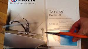 moen kitchen faucet unboxing unpackaging review torrance ca87480