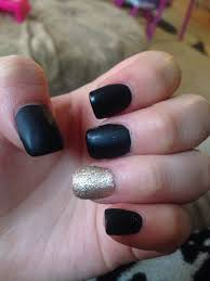 matte black nails with gold ring finger mattenails makeup