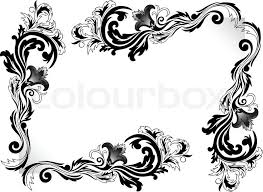 a set of black corner ornaments on a white background stock