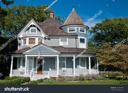 American Flag House Beautiful Gray Traditional Victorian House American Stock Photo