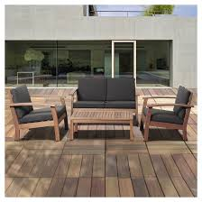 Patio Chairs Wood Laguna Beach 4 Piece Eucalyptus Wood Patio Set With Black Cushions