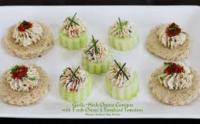 goats cheese canape recipes garlic herb cheese canapes with fresh chives and sundried tomatoes