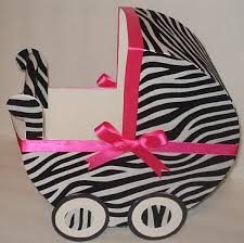 Carriage Centerpiece Zebra And Pink Baby Carriage Table Centerpiece Gift Box