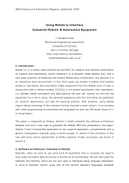 using matlab to interface industrial robotic and automation