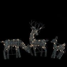 lighted reindeer set of 3 white glittered doe fawn reindeer lighted christmas