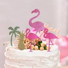 Tropical Themed Cake - aliexpress com buy 5pcs pack pink flamingo cake accessories cute