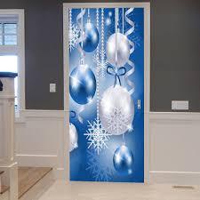 christmas baubles snowflakes pattern door stickers blue cm pcs