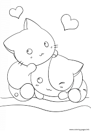 pet cat and kittens coloring page for kids animal coloring pages