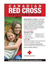 canadian red cross babysitting course at st andrews united church