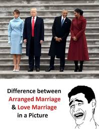 Funny Marriage Meme - difference between arranged marriage love marriage in a picture