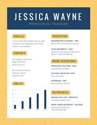 early childhood teacher resumes yellow blue simple pattern preschool teacher resume templates by