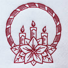 machine embroidery design christmas redwork 02