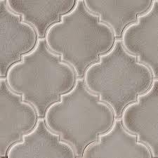 Arabesque Backsplash Tile by Alya Tile 15 5x10 5 Glossy Gray Ceramic Arabesque Backsplash Tile