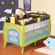 gym equipment portable infant baby green crib playpen bassinet bed