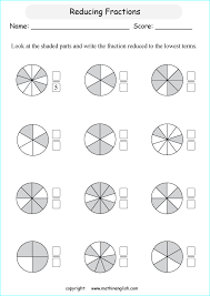 reduce the shaded fractions of shapes to their lowest terms math