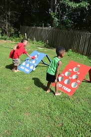 how to make a diy backyard bean bag toss game bag toss game