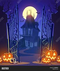 spooky old ghost house halloween card poster vector illustration