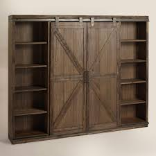 wood farmhouse barn door bookcase metal accents barn doors and