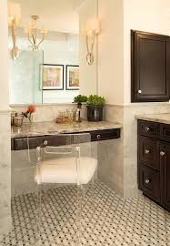 gray built in makeup vanity with lucite klismos chair