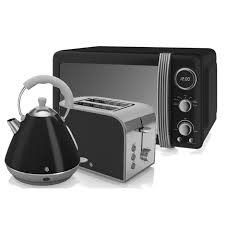Grundig Toaster Swan Retro Microwave Pyramid Kettle And 2 Slice Toaster In Black