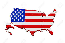 Blue White And Red Flags A Red White And Blue Map Of Usa With The American Flag Isolated