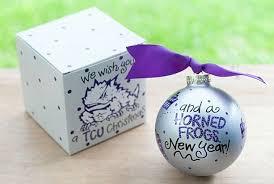 ncaa college christian tcu we wish you ornament by