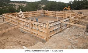 new home foundation construction new home foundation wall forms stock photo royalty