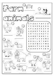english worksheet on the farm animals 1 3 education