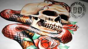 skull and snake tattoo design full length time lapse youtube
