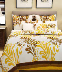 Buy Double Bed Sheets Online India Home Candy Yellow Paisley Cotton Double Bed Sheet With 2 Pillow