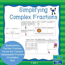 simplifying complex fractions a variety of activities including