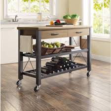 kitchen cart and island whalen santa fe rolling kitchen cart with metal shelves rustic
