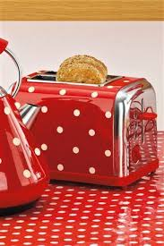 Red Kettle And Toaster Red Polka Dot Toaster And Kettle And Oilcloth Tablecloth Colors