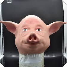 selling latex size full head cute pig animal halloween