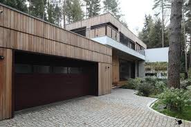 Backyard Garage Designs Amazing Conutry House Design With White Concrete And Wooden Trim