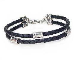 bracelet beads silver images Black leather 2 strand bracelet with 4mm silver beads lucky dog jpg