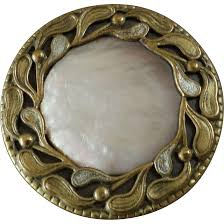 large antique art nouveau mother of pearl brass button 1 1 4