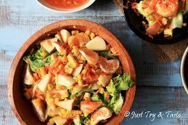 cara membuat salad sayur atau buah resep salad sayur buah dengan saus thai just try taste