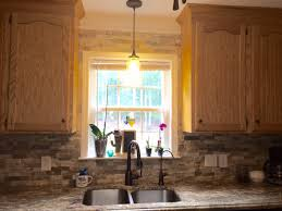 Slate Backsplash In Kitchen River Bordeaux Granite Countertops And Desert Sand Stone