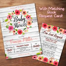 rustic baby shower invitation floral baby shower invitation wood