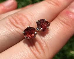 garnet stud earrings garnet stud earrings etsy