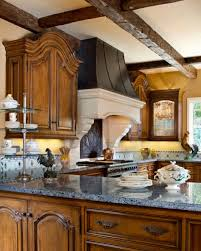 kitchen french country kitchen teak cabinet gray marble countertop
