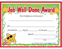 free printable job well done award certificates recognition