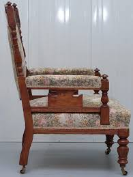 Reading Chair Victorian Embroidered Carved Oak Framed Library Reading Chair